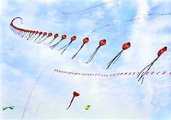 京剧脸谱、五彩帆船空中炫技 国内外千种风筝放飞汉口江滩